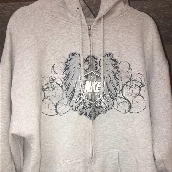 376766dc417c4 Nike Hoodie Grey Tag Spellout Vtg Rare Full Zip
